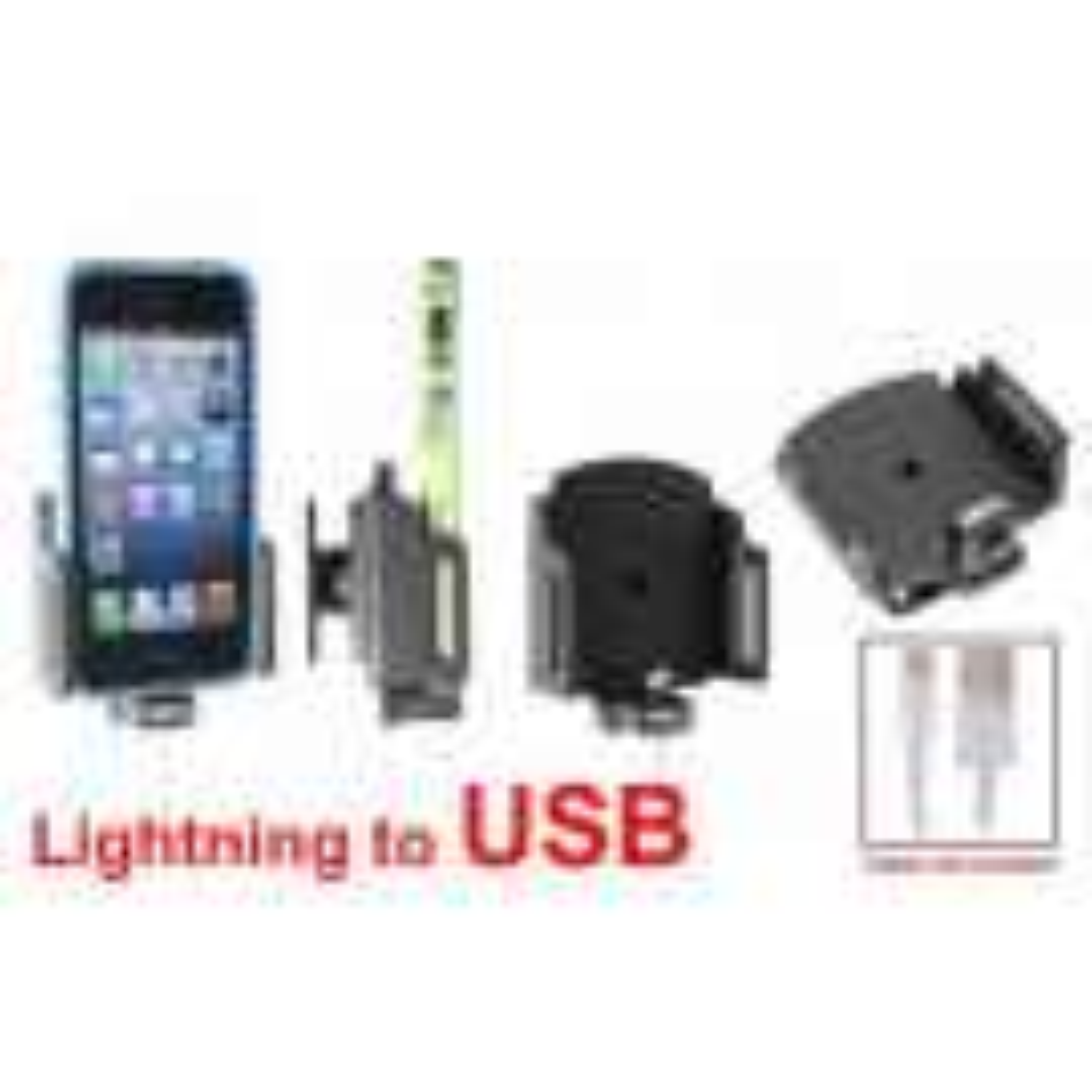 Brodit Passiv mobilholder m. kabeltilslutning ligthning til USB til Apple iPhone 5/5S/5C B:62-77 D:6-10 - 514436